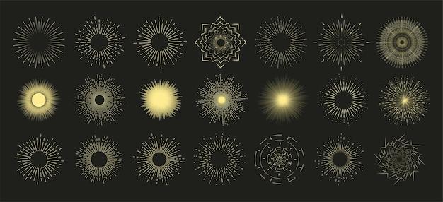 手描きのサンバースト、ヴィンテージラジアルバースト、抽象的なラインサンシャイン。コレクションサンバーストセット。サンシャイン、花火、または日没の太陽光線がレトロに爆発します。 Premiumベクター