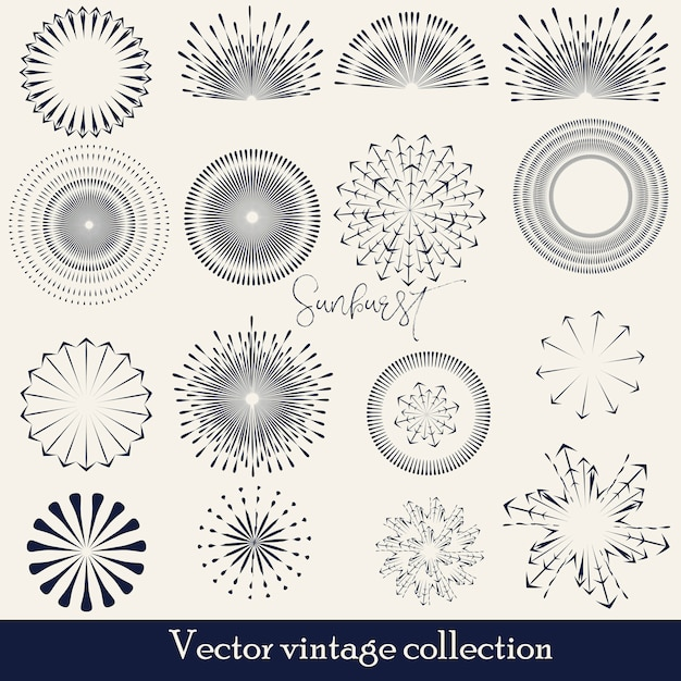 Hand drawn sunburst, vintage radial burst, abstract line sunshine vector collection Free Vector