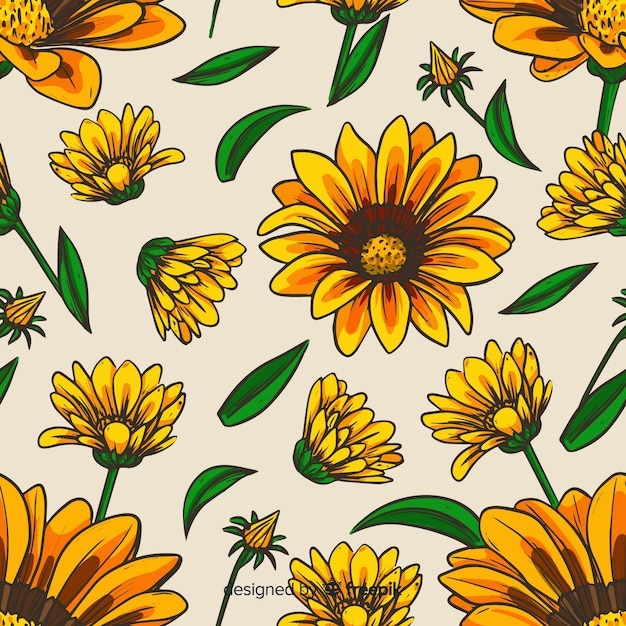 Hand drawn sunflowers background Free Vector