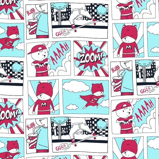 Hand drawn super hero comic pattern Premium Vector
