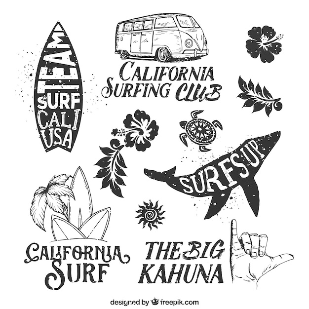 Hand drawn surf badges