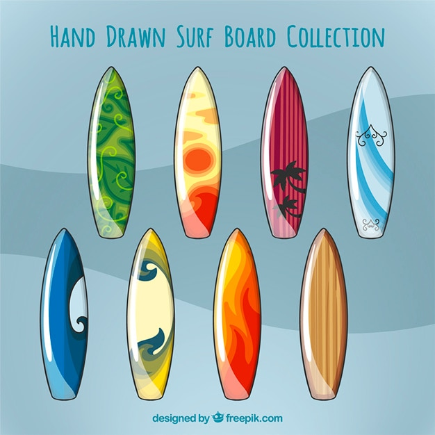 Hand drawn surfboards collection