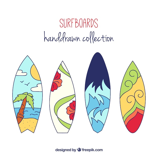 Hand drawn surfboards set