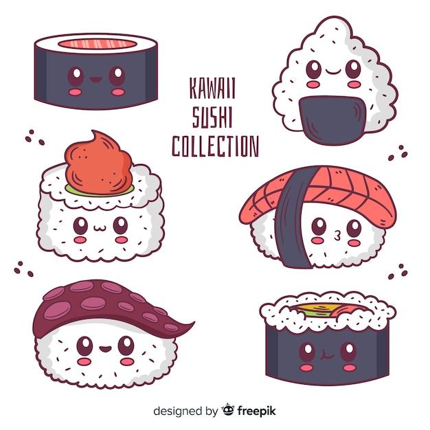 Hand drawn sushi kawaii pack Free Vector