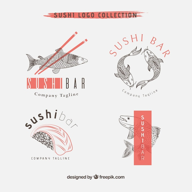 Hand drawn sushi restaurant logo collection Free Vector