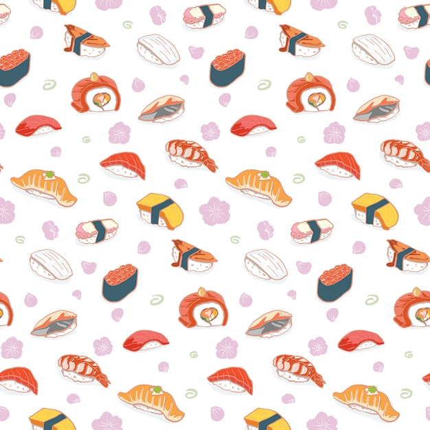 Hand drawn sushi seamless pattern Premium Vector