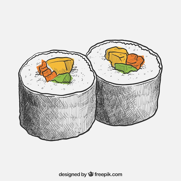 Hand Drawn Sushi Vector Free Download