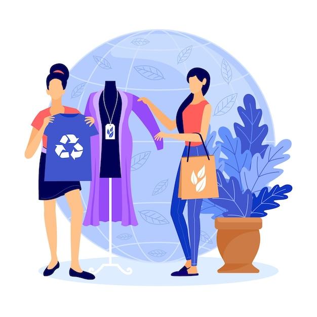 手描きの持続可能なファッションの概念 無料ベクター