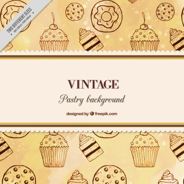 Hand drawn sweets background in vintage style Free Vector