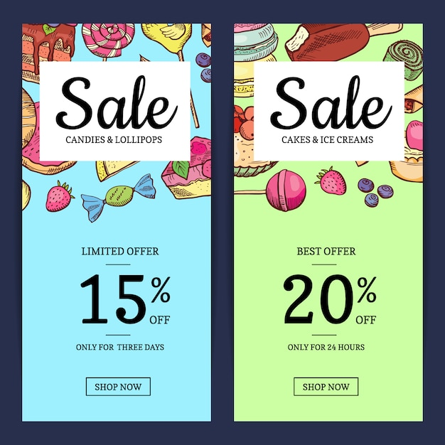 Hand drawn sweets sale template banner Premium Vector
