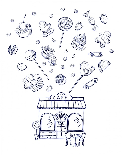 Hand drawn sweets spreading out of pastry shop building Premium Vector