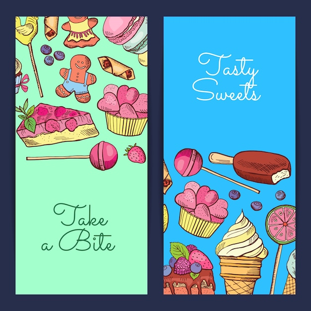 Hand drawn sweets vertical banner Premium Vector