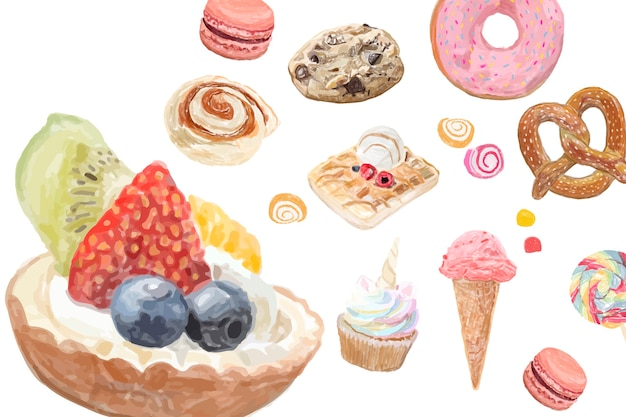 Hand drawn sweets watercolor style Free Vector
