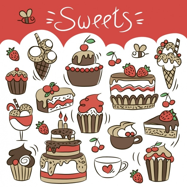 Hand drawn sweets Free Vector