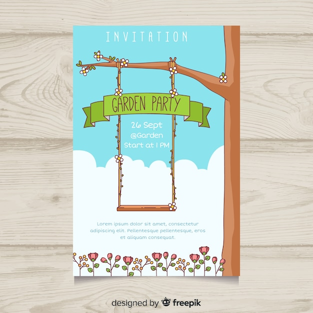 Hand drawn swing garden party poster Free Vector