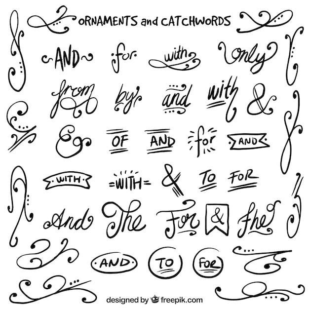 Hand drawn swirls with catchwords Vector | Free Download