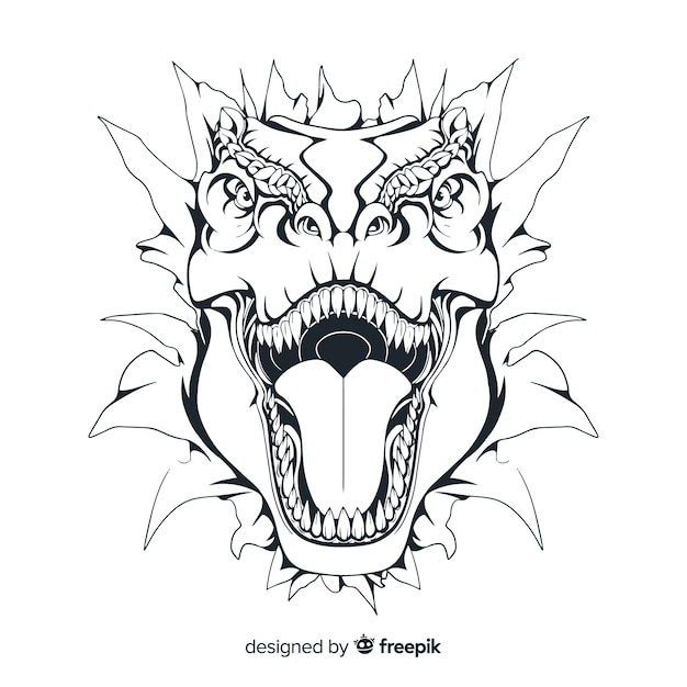 Hand drawn t-rex background Free Vector