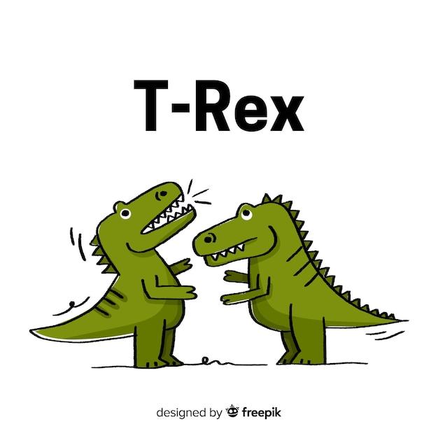 Hand drawn t-rex background Free Vector