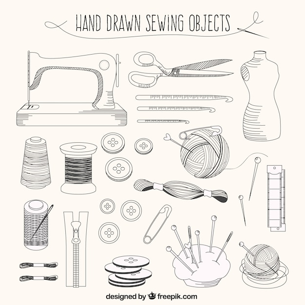 Hand drawn tailor elements Free Vector