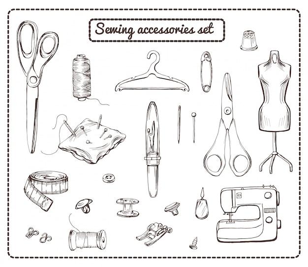 Коллекция рисованной элементов пошива Бесплатные векторы