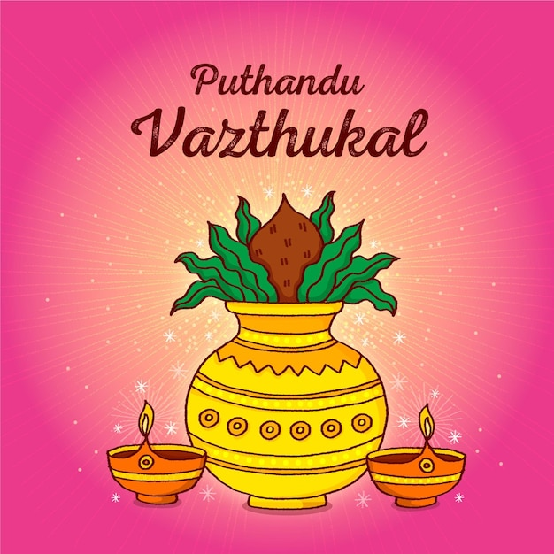 Hand drawn tamil new year illustration Free Vector