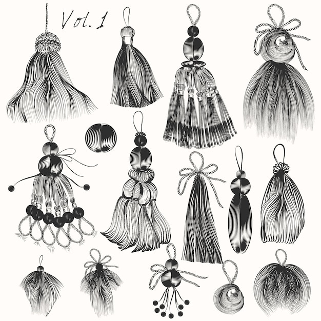 Hand Drawn Tassels Collection Vector Premium Download