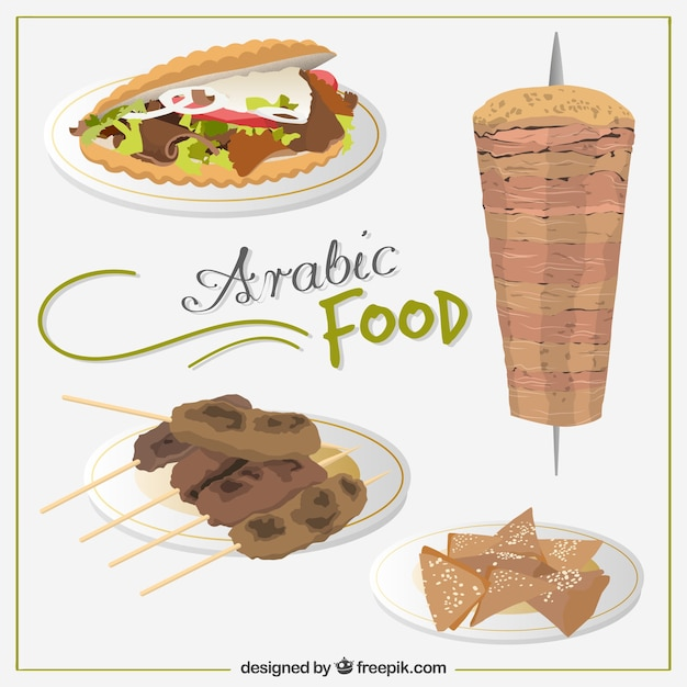 Hand drawn tasty arab food menus vector free download for Arabic cuisine names