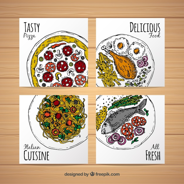 Hand drawn tasty food card collection Free Vector