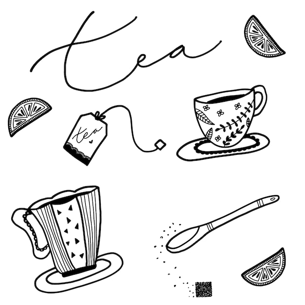 Hand drawn tea elements Free Vector