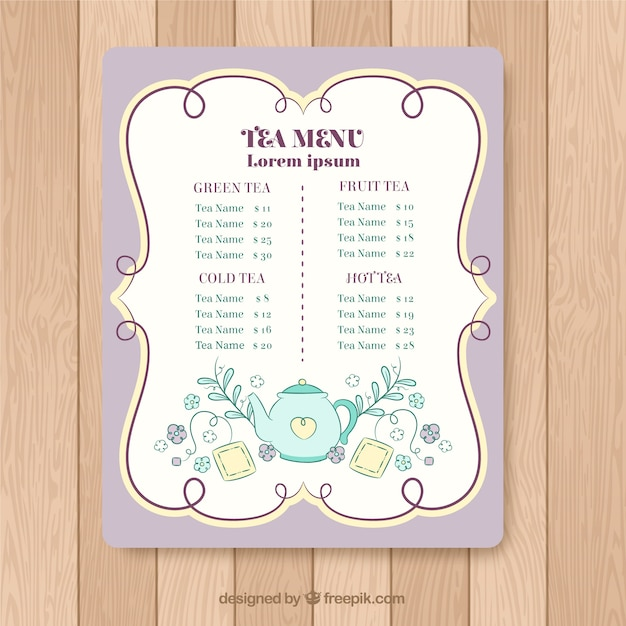 Hand drawn tea menu template Free Vector