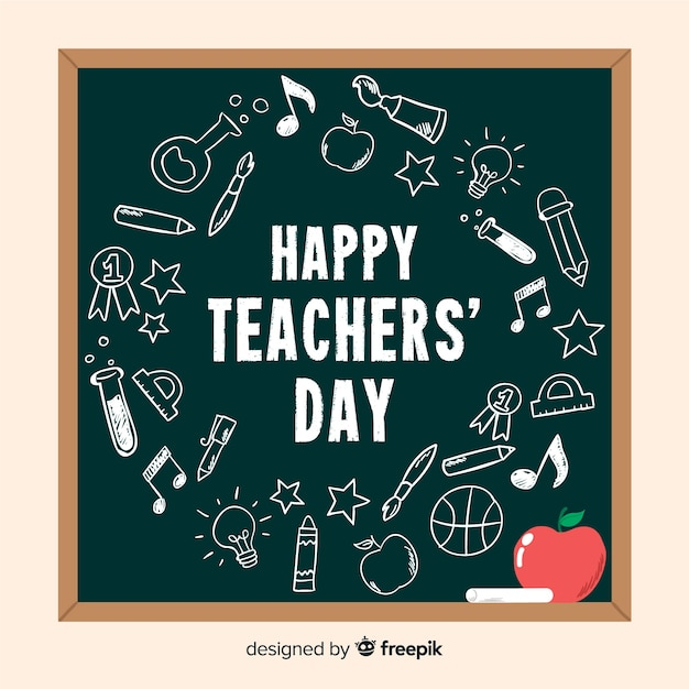 Hand drawn teachers day background Free Vector