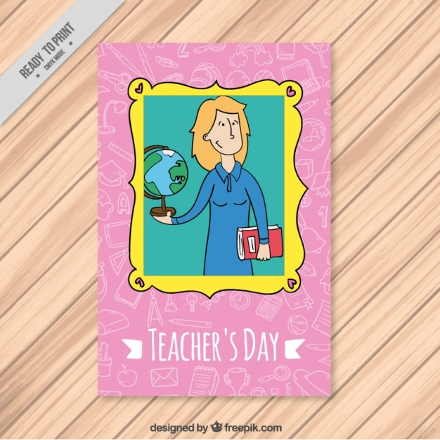 Hand drawn teachers day card