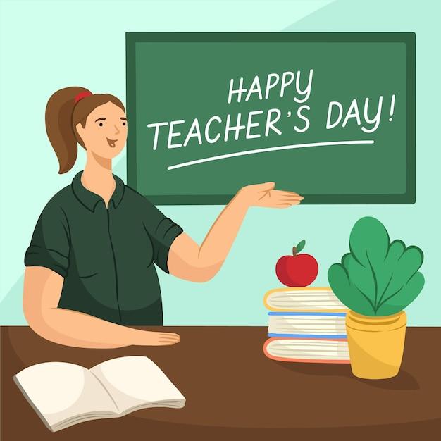 手描きの先生の日のコンセプト 無料ベクター