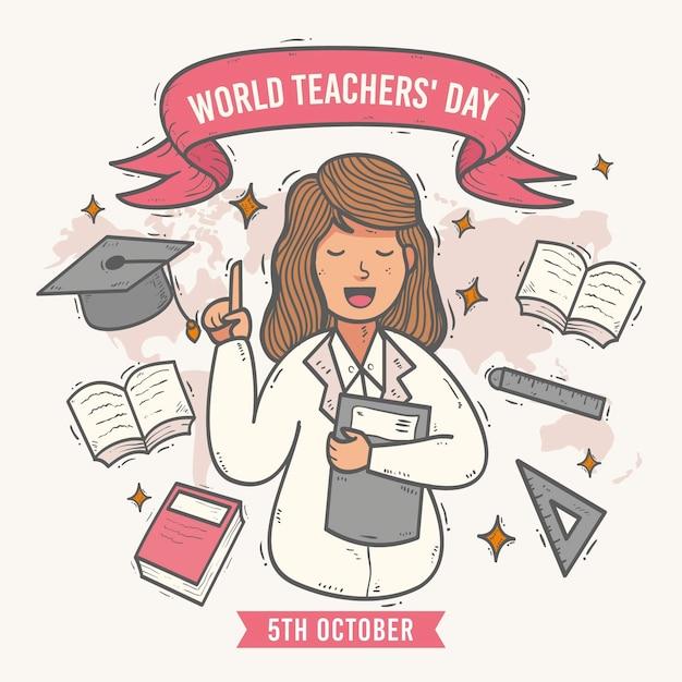 Concetto di giorno degli insegnanti disegnati a mano Vettore gratuito