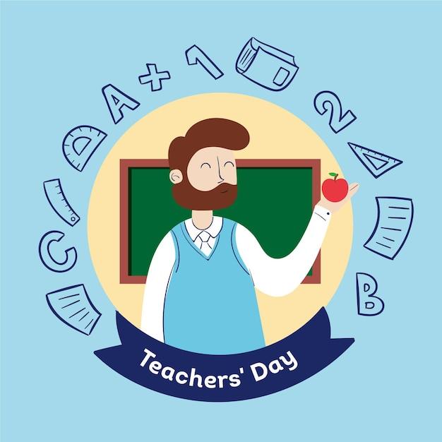 男のイラストが描かれた教師の日を手します。 無料ベクター