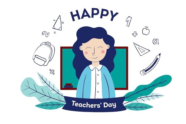 День учителя рисованной с женщиной Бесплатные векторы