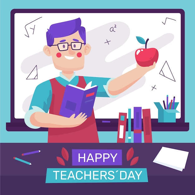 Hand drawn teachers' day Free Vector