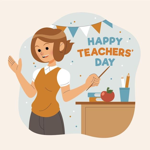 Giornata degli insegnanti disegnati a mano Vettore gratuito