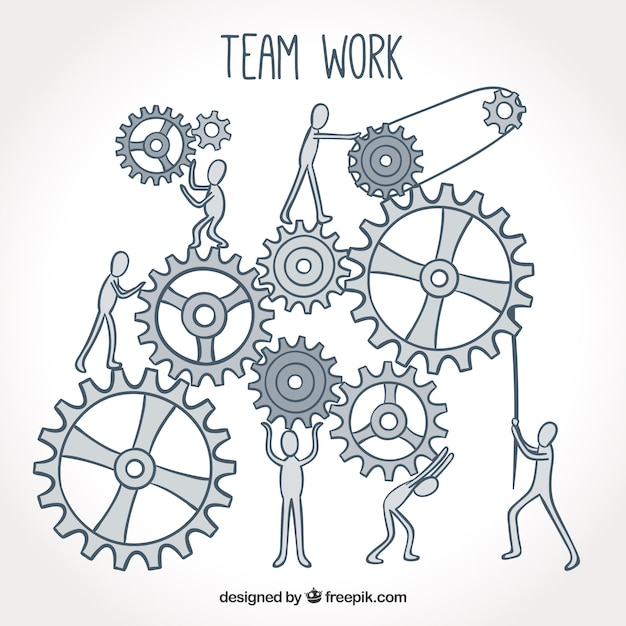 Hand drawn team work with machinery Free Vector