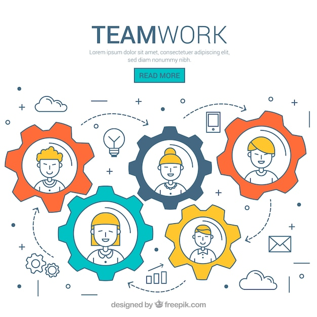 Hand drawn teamwork concept with screws Free Vector
