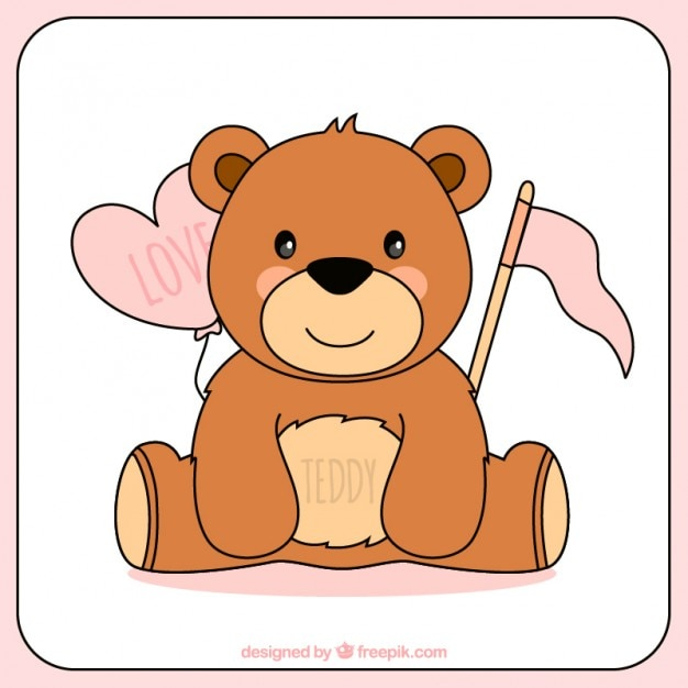 Hand Drawn Teddy Bear For Valentine Day Free Vector