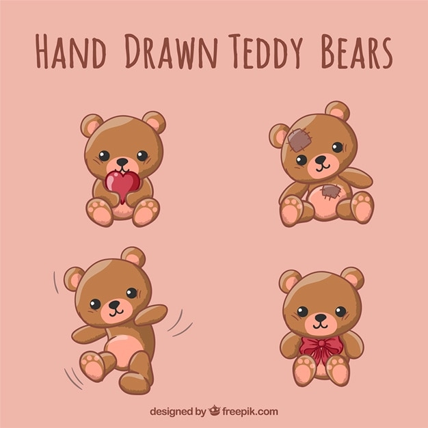 teddy bears vector  Hand drawn teddy bears Vector | Free Download