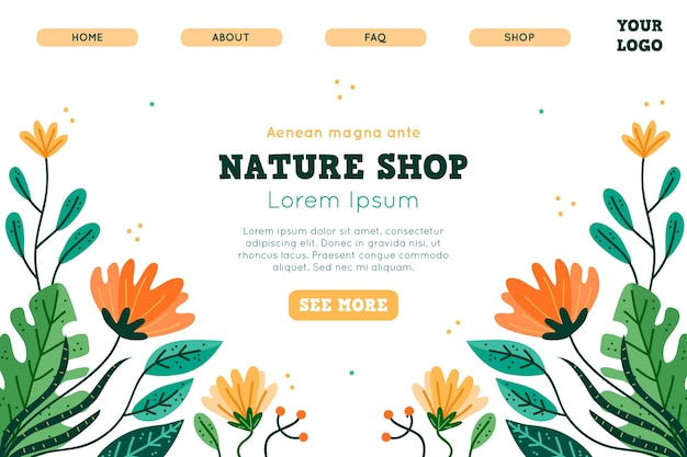 Hand drawn template nature landing page Free Vector