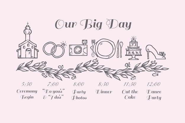 Hand Drawn Template Wedding Timeline Vector Free Download