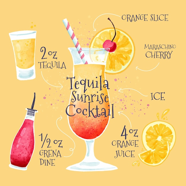 Hand drawn tequila sunrise cocktail recipe Free Vector