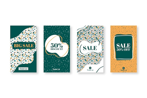 Hand drawn terrazzo style instagram sale set Free Vector