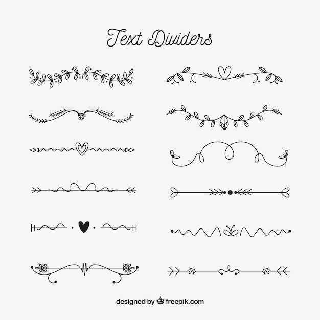 Hand drawn text dividers collection Free Vector
