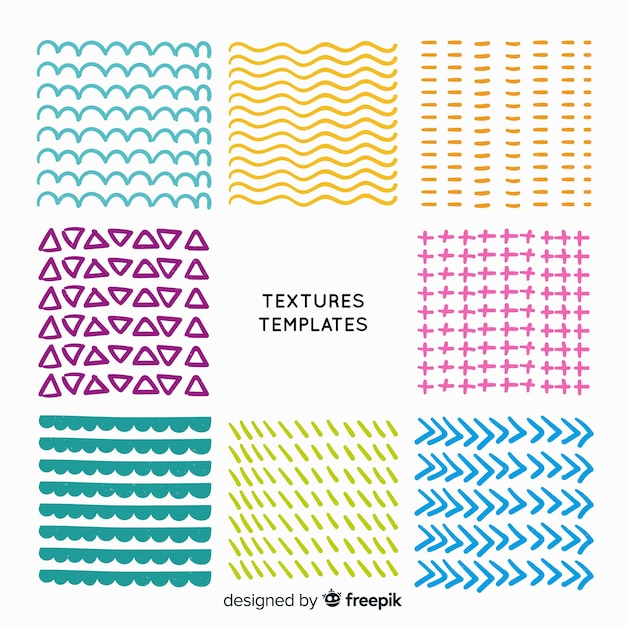 Hand drawn texture template collection Free Vector