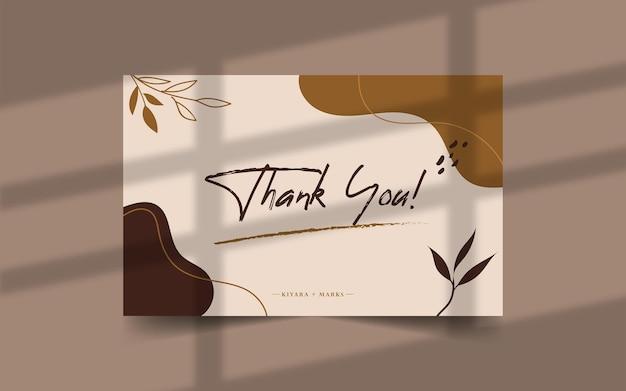 Hand drawn thank you card template Premium Vector