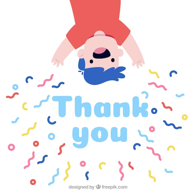 Hand drawn thank you composition with confetti Free Vector